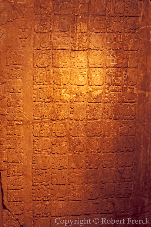MEXICO, MAYAN, PALENQUE hieroglyphs with dates in Temple of Cross