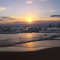 """""""Peaceful Grand Haven Sunset""""<br /> <br /> Sunset in Grand Haven Michigan along the shores of Lake Michigan. Peaceful and calming hues!"""