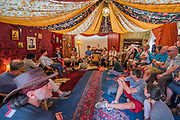 Discussion of Russia today by dissident Vladimir Ahurkov in the Dacha in teh Faraway Forest - The 2017 Latitude Festival, Henham Park. Suffolk 15 July 2017