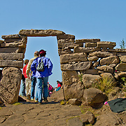 The often steep hills of the island of Taquile in Lake Titicaca, Peru.