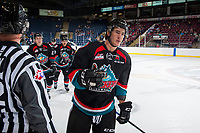 KELOWNA, CANADA - SEPTEMBER 5: James Hilsendager #2 of the Kelowna Rockets celebrates a goal against the Kamloops Blazers on September 5, 2017 at Prospera Place in Kelowna, British Columbia, Canada.  (Photo by Marissa Baecker/Shoot the Breeze)  *** Local Caption ***