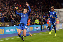 Leicester City's Islam Slimani celebrates scoring his side's second goal of the game