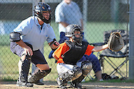 The Giants vs the Tigers in Avon Lake Youth Baseball Majors Division playoff action on July 12, 2013 at Bleser Park. Images © David Richard and may not be copied, posted, published or printed without permission.