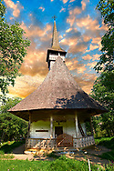 Wooden Church ( Biserica de Lemn ) St Nicolae,  Maramures, Northern Transylvania, Romania .<br /> <br /> Visit our ROMANIA HISTORIC PLACXES PHOTO COLLECTIONS for more photos to download or buy as wall art prints https://funkystock.photoshelter.com/gallery-collection/Pictures-Images-of-Romania-Photos-of-Romanian-Historic-Landmark-Sites/C00001TITiQwAdS8<br /> .<br /> Visit our MEDIEVAL PHOTO COLLECTIONS for more   photos  to download or buy as prints https://funkystock.photoshelter.com/gallery-collection/Medieval-Middle-Ages-Historic-Places-Arcaeological-Sites-Pictures-Images-of/C0000B5ZA54_WD0s
