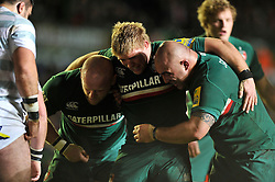 The Leicester Tigers front row of Dan Cole, Tom Youngs and Boris Stankovich pack down for a scrum, shortly prior the referee awards them a penalty try - Photo mandatory by-line: Patrick Khachfe/JMP - Tel: Mobile: 07966 386802 23/11/2013 - SPORT - RUGBY UNION -  Welford Road, Leicester - Leicester Tigers v London Irish - Aviva Premiership.