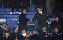 Leicester City chairman Vichai Srivaddhanaprabha shakes hands with an unidentified man after the Premier League match at the King Power Stadium, Leicester.