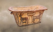 Minoan  pottery bath tub  larnax decorated with a cow nursing a calf,  Episkopi-Lerapetra 1350-1250 BC, Heraklion Archaeological  Museum.<br /> <br /> To the Greeks, the Underworld was entered by water. As with many other Minoan bathtubs, this one was probably later used as a coffin to convey the deceased across the sea, where marine imagery would be equally appropriate. The two functions of bathtubs, bathing and burial, combine in the story of Agamemnon who, on return from Troy, was murdered by his wife and her lover in a silver bath. .<br /> <br /> If you prefer to buy from our ALAMY PHOTO LIBRARY  Collection visit : https://www.alamy.com/portfolio/paul-williams-funkystock/minoan-art-artefacts.html . Type -   Heraklion   - into the LOWER SEARCH WITHIN GALLERY box. Refine search by adding background colour, place, museum etc<br /> <br /> Visit our MINOAN ART PHOTO COLLECTIONS for more photos to download  as wall art prints https://funkystock.photoshelter.com/gallery-collection/Ancient-Minoans-Art-Artefacts-Antiquities-Historic-Places-Pictures-Images-of/C0000ricT2SU_M9w