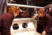 28 JAN 2004, BERLIN/GERMANY:<br /> Edelgard Bulmahn, SPD, Bundesforschungsministerin, besichtigt ein halbes Auto, welches innovative Leichtbauweise neuer Stahlkonstruktionen zeigt, Eroeffnungsveranstaltung Jahr der Technik, Deutsches Technik Museum<br /> IMAGE: 20040128-01-008