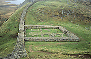 The remains of Milecastle 39, also known as Castle Nick, on the Whin Sill. The former barracks was part of the defences of Hadrian'sWall, built by the Romans across the width of England from AD 122-8. Northumberland, UK, 1998
