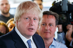 **FILE PICTURE- David Cameron and Boris Johnson will will campaign against each other ahead of an EU Referendum on June 23rd, 2016**© Licensed to London News Pictures. 05/05/2015. LONDON, UK. Mayor of London Boris Johnson and Conservatives leader and Prime Minister David Cameron speaking to staff at Utility Warehouse in Hendon, northwest London on Tuesday, 5 May 2015. Photo credit : Tolga Akmen/LNP