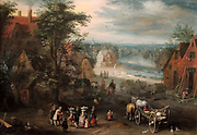 Painting called 'A Village Scene' 1663. Part of the art collection at Upton House