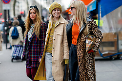 Street style, Emili Sindlev, Thora Valdimars and Jeanette Friis Madsen arriving at Altuzarra Fall-Winter 2018-2019 show held at La Coupole, in Paris, France, on March 3rd, 2018. Photo by Marie-Paola Bertrand-Hillion/ABACAPRESS.COM