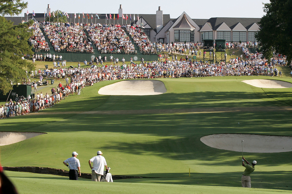 11 August 2007: Tiger Woods drives his second shot onto the green of  the 18th hole during the third round of the 89th PGA Championship at Southern Hills Country Club in Tulsa, OK.