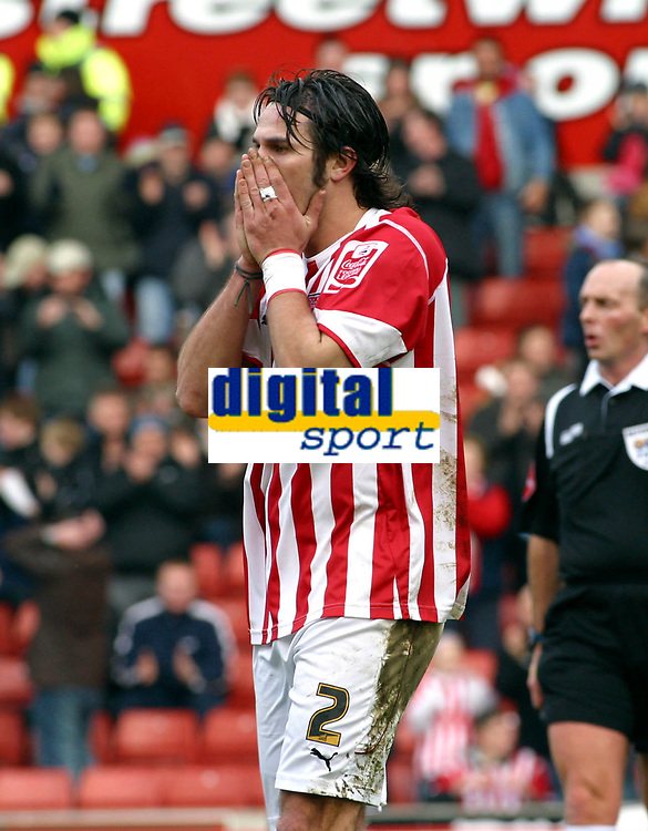 Photo: Dave Linney.<br />Stoke City v Birmingham City. The FA Cup. 19/02/2006.<br />Stoke's Carl Hoefkens can only reflect on a shot that flew inches wide