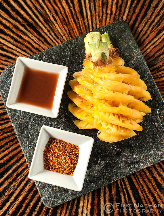 Pineapple with tamarind sauce and chilli powder as served by the Four Seasons hotel in Mauritius.