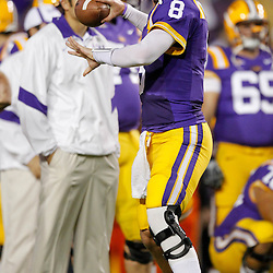 November 12, 2011; Baton Rouge, LA, USA; LSU Tigers quarterback Zach Mettenberger (8) prior to kickoff of of a game against the Western Kentucky Hilltoppers at Tiger Stadium. LSU defeated Western Kentucky 42-9. Mandatory Credit: Derick E. Hingle-US PRESSWIRE