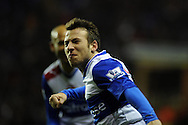 Reading's Adam Le Fondre celebrates after he scores his 2nd to make it 2-2.  Barclays Premier league, Reading v Chelsea at the Madejski Stadium in Reading on Wednesday 30th Jan 2013. pic by Andrew Orchard, Andrew Orchard sports photography,