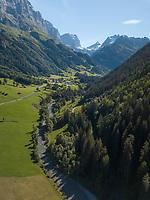 Aerial View of Swiss River Scene in Sustenpass, Switzerland