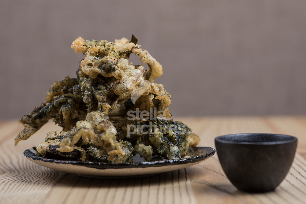 Seaweed in tempura at Untitled restaurant in east London.<br /> Picture by Daniel Hambury/Stella Pictures Ltd 07813022858<br /> 07/10/2017