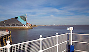 Viewpoint over river Humber and river Hull ti the Deep aquarium, Hull, Yorkshire, England