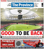 August 17, 2021 - CANADA: Front-page: Today's Newspapers In Canada