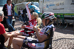 Jolanda Neff (Servetto Footon Cycling Team) waves at a friend before the start of the Trofeo Alfredo Binda - a 123.3km road race from Gavirate to Cittiglio on March 20, 2016 in Varese, Italy.