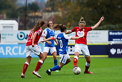 Yana Daniels of Bristol City Women competes with Christie Murray of Birmingham City Women - Mandatory by-line: Will Cooper/JMP - 18/10/2020 - FOOTBALL - Twerton Park - Bath, England - Bristol City Women v Birmingham City Women - Barclays FA Women's Super League