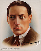 (Edward Montague) Compton Mackenzie (1883-1972) British author of Scottish descent, born in West Hartlepool, England. Novelist, writer and broadcaster he was a co-founder in 1923 of the periodical 'The Gramophone'.  Best remembered today for his novels 'The Monarch of the Glen' (1941) and 'Whisky Galore'  (1947) which have reached a wide audience through film and television.  From 'Famous British Authors' (London, 1937).