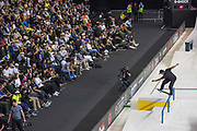 Kelvin Hoefler, Brazil, during the men's final of the Street League Skateboarding World Tour Event at Queen Elizabeth Olympic Park on 26th May 2019 in London in the United Kingdom.