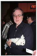 Paul Allen with a dog called Plum, www.style365.com, Four Seasons, New York. 6 February 2000. © Copyright Photograph by Dafydd Jones 66 Stockwell Park Rd. London SW9 0DA Tel 020 7733 0108 www.dafjones.com
