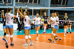 Players of Calcit Volley celebrate during volleyball match between Calcit Volley Kamnik vs LKS Commercecon Lodz in 2nd Round of CEV Champions League 2020/21, on October 14, 2020 in Sportna dvorana, Kamnik, Slovenia. Photo by Matic Klansek Velej / Sportida