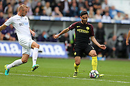 Ilkay Gundogan of Manchester city (r) in action. Premier league match, Swansea city v Manchester city at the Liberty Stadium in Swansea, South Wales on Saturday 24th September 2016.<br /> pic by Andrew Orchard, Andrew Orchard sports photography.