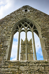 View through windows, Ross Errilly Friary, County Galway, Ireland