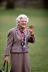 Former first lady Barbara Bush, wife of former President George H.W. Bush and mother of former President George W. Bush, died Tuesday at her home in Houston. She was 92. Barbara Bush had been in failing health, suffering from congestive heart failure and chronic obstructive pulmonary disease. George and Barbara, who celebrated their 73rd wedding anniversary on Jan. 6, hold the record for the longest-married presidential pair. Mrs. Bush was known for her wit and emphasis on family. One of her primary causes was literacy. She founded the Barbara Bush Foundation for Family Literacy in 1989 to carry forth her legacy in the cause for literacy. PICTURED: File - 1990 - Washington, District of Columbia, United States of America - First Lady BARBARA BUSH waves to the press as she walks towards ''Marine One'' for a flight to Camp David. (Credit Image: © Mark Reinstein via ZUMA Wire)