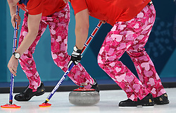 The Norwegian Men's Curling team sport Valentines Day themed trousers during the Men's Round Robin Session 2 match against Japan at the Gangneung Curling Centre during day five of the PyeongChang 2018 Winter Olympic Games in South Korea.
