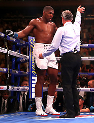 Referee Mike Griffin waves off the fight between Anthony Joshua (left) and Andy Ruiz Jr (not shown) at Madison Square Garden, New York.