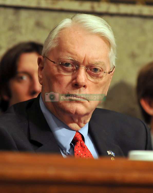 September 23, 2008 - Washington, District of Columbia, United States of America - Washington, D.C. - September 23, 2008 -- United States Senator Jim Bunning (Republican of Kentucky) questions the witnesses during the United States Senate Committee on Banking, Housing and Urban Affairs hearing on ''Turmoil in US Credit Markets: Recent Actions Regarding Government Sponsored Entities, Investment Banks and Other Financial Institutions'' in Washington, D.C. on Tuesday, September 23, 2008.  The hearing focused on the United States Government's proposed 700 billion U.S. dollar bail-out of the banking system caused by poor lending practices of U.S. banks..Credit: Ron Sachs / CNP (Credit Image: © Ron Sachs/CNP via ZUMA Wire)