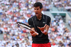 June 5, 2018 - Paris, France - NOVAK DJOKOVIC is upset by M. Cecchinato to reach semi-finals. Djokovic, 31, saved three match points and missed three set points before the world number 72 finally won 6-3, 7-6, 1-6, 7-6. (Credit Image: © Panoramic via ZUMA Press)