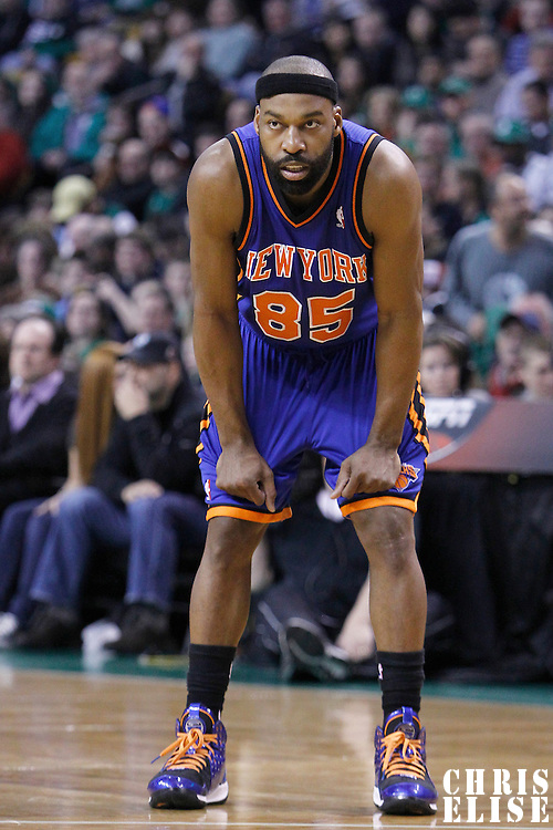 04 March 2012: New York Knicks point guard Baron Davis (85) rests during the Boston Celtics 115-111 (OT) victory over the New York Knicks at the TD Garden, Boston, Massachusetts, USA.