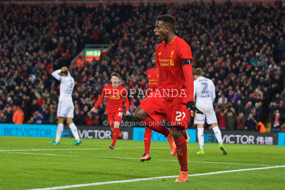 LIVERPOOL, ENGLAND - Tuesday, November 29, 2016: Liverpool's Divock Origi celebrates scoring the first goal against Leeds United during the Football League Cup Quarter-Final match at Anfield. (Pic by David Rawcliffe/Propaganda)