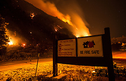 July 7, 2018 - Forest Falls, California, U.S - A large wildfire broke out in Forest Falls off Highway 38 on Friday July 06, 2018. Extreme heat and winds helped spread the fire to over 1000 acres with 0% containment. The city of Forest Falls is under mandatory evacuation. (Credit Image: © Kevin Warn via ZUMA Wire)