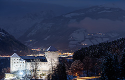 THEMENBILD - Blick auf die illuminierte Burg Kaprun in der blauen Stunde mit Schnee, aufgenommen am 08. November 2016, Kaprun, Österreich // View of the illuminated Castle Kaprun in the blue hour, with snow in Kaprun, Austria on 2016/11/08. EXPA Pictures © 2016, PhotoCredit: EXPA/ JFK