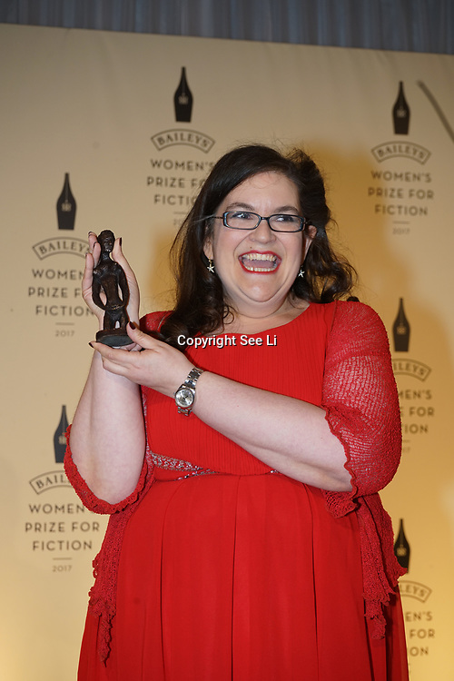 London,UK. 7th June 2017. Naomi Alderman attends a photocall and the winner of The Baileys Prize for Women's Fiction Awards 2017 at the The Royal Festival Hall, Southbank Centre. by See Li
