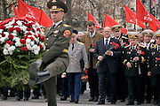 Moscow, Russia, 07/05/2005..Russia celebrates the 60th anniversary of the end Second World War, generally referred to in Russia as the Great Patriotic War. Russian Communist Party leader Gennady Zyuganov leads a wreath-laying ceremony at the Tomb Of The Unknown Soldier..