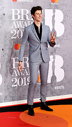February 21, 2019 - London, London, United Kingdom - Image licensed to i-Images Picture Agency. 20/02/2019. London, United Kingdom. Shawn Mendes at the Brit Awards in London. (Credit Image: © i-Images via ZUMA Press)