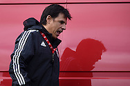 Chris Coleman, the Wales football team manager arrives for the Wales football team training in Hensol, Vale of Glamorgan in South Wales on Tuesday 6th October 2015.the team are preparing for their next Euro 2016 qualifying match this weekend.<br /> pic by  Andrew Orchard, Andrew Orchard sports photography.