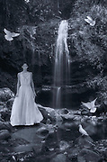 Photoshop Composition: Model Victoria Solis Vargas Wearing Gustavo Arnago's Dress During Puerto Rico Fashion IN Fashion Show and Las Delicias Waterfall in Ciales, Puerto Rico.