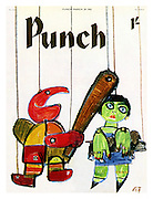 Punch Front Cover - March 28th 1962 - Mr Punch in a Punch and Judy show protecting Toby the dog