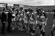 01/09/1985<br /> 09/01/1985<br /> 1 September 1985<br /> All-Ireland Hurling Final: Offaly v Galway at Croke Park, Dublin. <br /> President Hillery being introduced to the Offaly players by team captain, Pat Fluery (Drumcullen), before the game against Galway.
