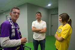 David Ferk, 12th player of NK Maribor, Dejan Djuranovic, 12th player ambassador of Domzale and Maja Zugec, 12th player of NK Domzale during press conference of Hervis Cup 2011, on May 23, 2011 in Stozice, Ljubljana, Slovenia. NK Domzale and NK Maribor will play in the Final of Hervis Cup 2011 at Stozice Stadium.  (Photo By Vid Ponikvar / Sportida.com)